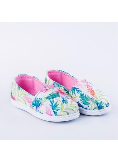 First Step Çiçekli Keten Ayakkabı Pembe Pembe